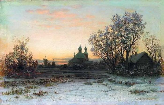 Зимний пейзаж с церковью автор