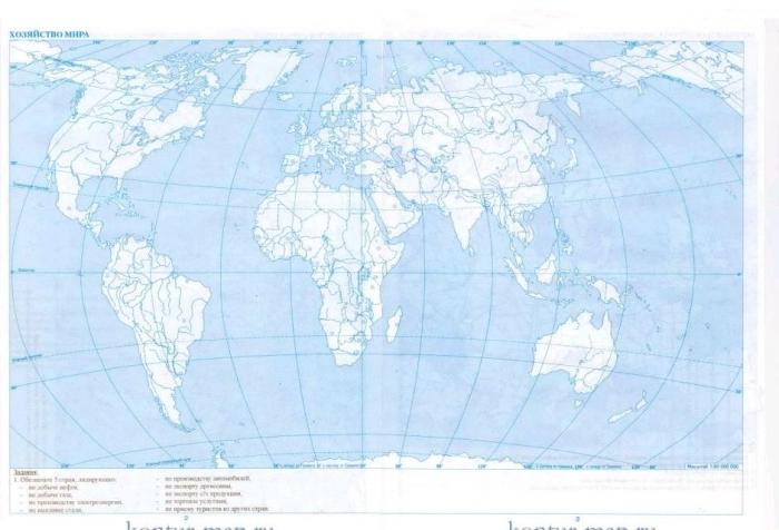 контурная карта по географии 10 класс решебник скачать