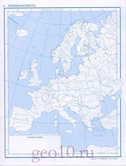 Контурная Карта Европы