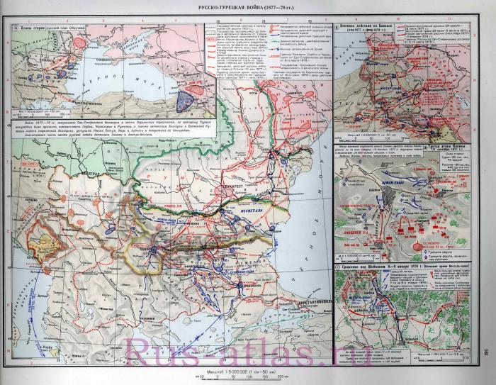 Карта Русско-турецкой войны